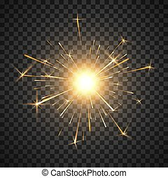 décor, magie, firework., brûlé, effect., lumière, light., isolé, illustration, fire., réaliste, vecteur, fond, sparkler, fête, bengale, brillant, transparent, element.