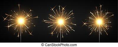 décor, magie, firework., brûlé, light., isolé, illustration, fire., vecteur, arrière-plan noir, sparkler, fête, bengale, brillant, element.