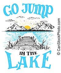 décor, maison, lac, signe, saut, aller