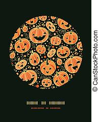 décor, modèle, halloween, potirons, fond, cercle