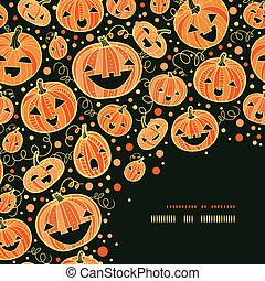 décor, modèle, halloween, potirons, fond, coin