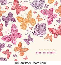 décor, modèle, papillons, fond, floral, coin