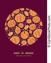 décor, modèle, thanksgiving, potirons, fond, cercle