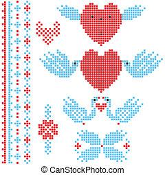 décor, pixel, mariage