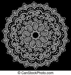 décor, reprise, illustration., modèle, ornament., vecteur, mandala, rond