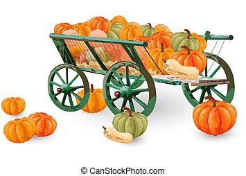 décor, saison, isolé, charrette, dispositions, vecteur, white., potirons, automne