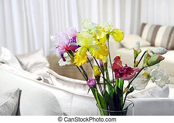 décor, salle, coloré, moderne, -, maison, fleurs