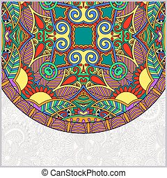 décoratif, élément, floral, gabarit, ethnique, plat, cercle