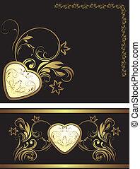 décoratif, éléments, coeur