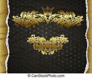 décoratif, éléments, doré, vendange, conception, fond