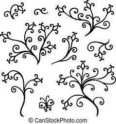décoratif, éléments floraux, ensemble