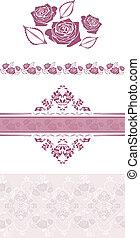 décoratif, éléments, violet