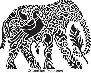 décoratif, éléphant indien