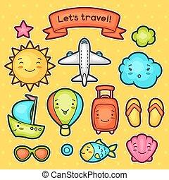 décoratif, été, différent, ensemble, soleil, objets, caractères, voyage, collection, kawaii, gai, expressions., avion, facial, valise, doodles, balloon, dessin animé, bateau