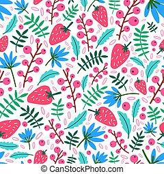 décoratif, été, wallpaper., naturel, mûre, papier, modèle, feuilles, emballage, seamless, illustration, textile, arrière-plan., berries., vecteur, sauvage, fleurs blanches, fraises, impression, toile de fond