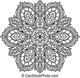 décoratif, être, tension, utilisé, dentelle, résumé, -, mandala, vecteur, anti, boîte, ethnique, conception, therapy., rond, element., noir