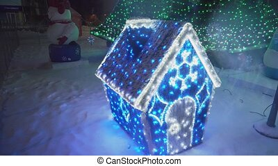 décoratif, 4k., maison, arbre, dehors, petit, noël
