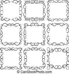 décoratif, 9, ensemble, vecteur, frames.