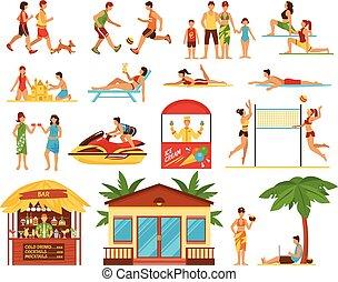 décoratif, activités, ensemble, plage, icônes