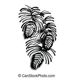 décoratif, aiguilles, silhouette, cône, pin