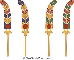 décoratif, ancien, ensemble, élément, couleur, ventilateur, egypte