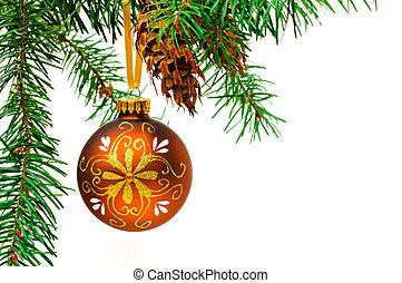 décoratif, arbre., balle, noël, pend