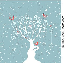décoratif, arbre hiver