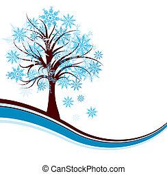 décoratif, arbre hiver, fond, vecteur