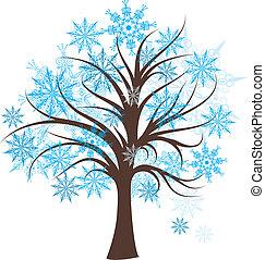 décoratif, arbre hiver, vecteur