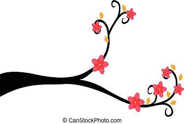 décoratif, arbre, silhouette, branche