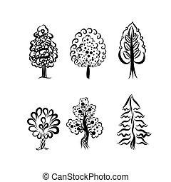 décoratif, arbres