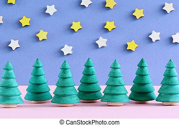 décoratif, arbres., fond, astérisques, petit, noël, blurred.