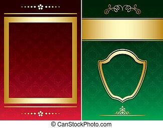 décoratif, arrière-plans, or, vendange, -, vecteur, vert, ornements, rouges