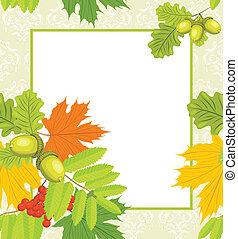 décoratif, automne, cadre
