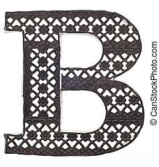 décoratif, b, métal, lettre