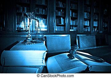 décoratif, balances justice, dans, les, bibliothèque