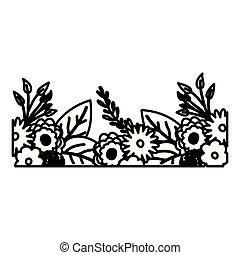 décoratif, beau, croquis, bord, ornements, fleurs, contour, ...