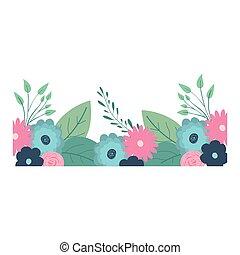 décoratif, beau, multicolore, bord, ornements, fleurs, ...