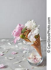 décoratif, beau, pierre, gaufrette, pivoine, vase verre, gouttelettes, eau, pétales, gris, arrière-plan., fleurs, carte, cônes
