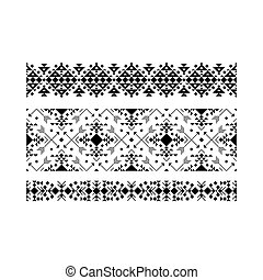 décoratif, blanc, ensemble, noir, ethnique