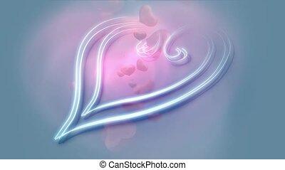 décoratif, bleu, coeur