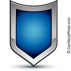 décoratif, bleu, contour, vecteur, emblème, géométrique, manteau, héraldique, isolé, dimensionnel, arrière-plan., arms., défense, eps8, escutcheon, conceptuel, blanc, écusson, argent, 3d