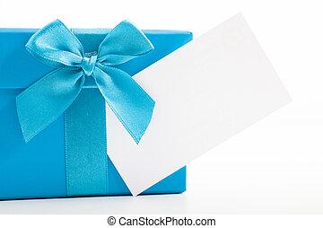 décoratif, bleu, etiquette don, vide, noël