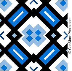 décoratif, bleu, modèle, seamless, arrière-plan noir, blanc, ou