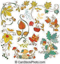 décoratif, branches, ensemble, feuilles, -, automne, vecteur, conception, album