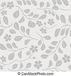 décoratif, branches, modèle, -, gris, seamless, vecteur, fond, floral