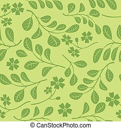 décoratif, branches, modèle, -, seamless, vecteur, arrière-plan vert, floral