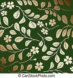 décoratif, branches, or, gradient, modèle, -, vecteur, arrière-plan vert