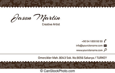 décoratif, brun, carte affaires