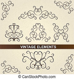 décoratif, brun, elements., vendange, floral, design.